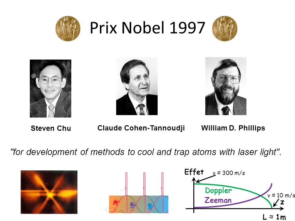 Prix Nobel 1997 Steven Chu. Claude Cohen-Tannoudji. William D. Phillips. for development of methods to cool and trap atoms with laser light .