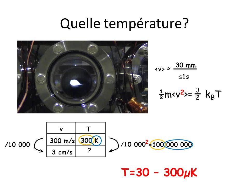 Quelle température T=30 – 300µK T= 3 µK =0.000 003 K