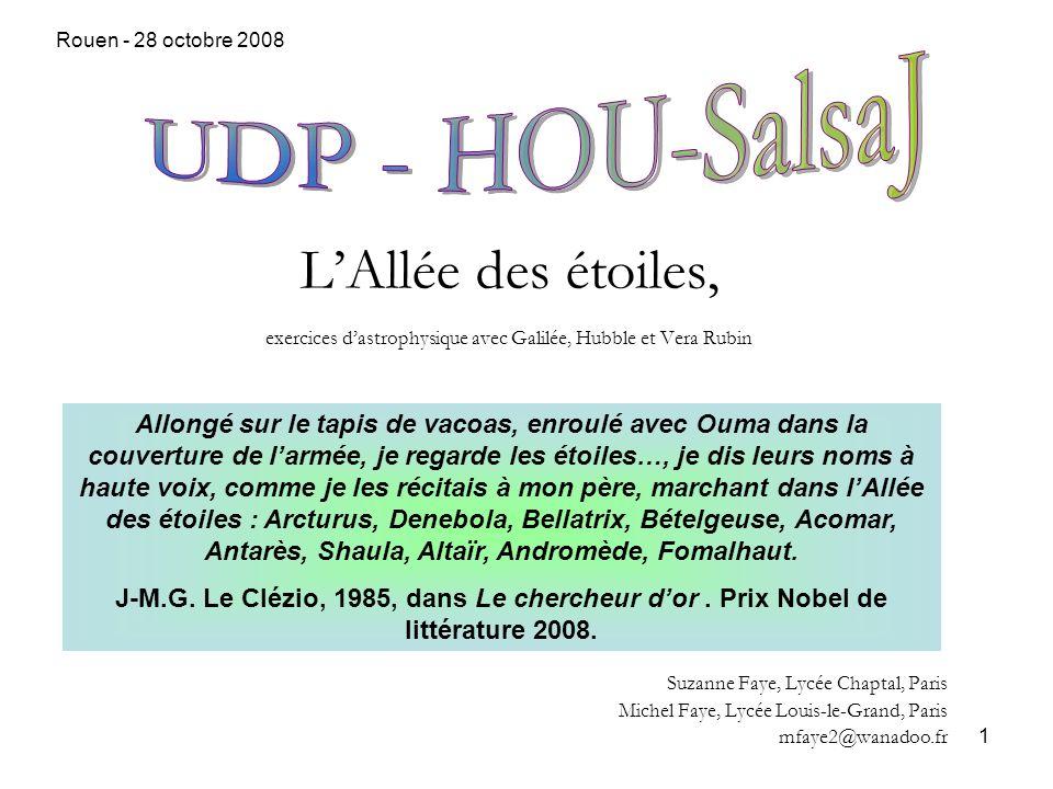 Rouen - 28 octobre 2008 UDP - HOU-SalsaJ. L'Allée des étoiles, exercices d'astrophysique avec Galilée, Hubble et Vera Rubin.