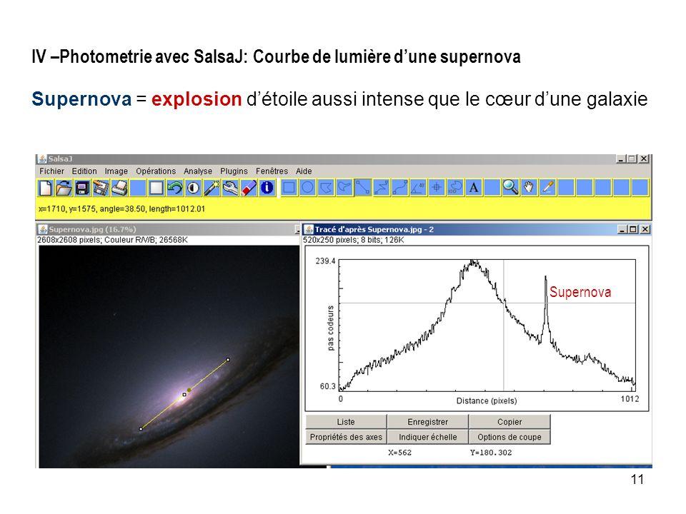 IV –Photometrie avec SalsaJ: Courbe de lumière d'une supernova Supernova = explosion d'étoile aussi intense que le cœur d'une galaxie
