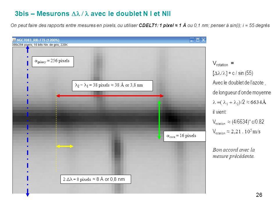 3bis – Mesurons Dl / l avec le doublet N I et NII