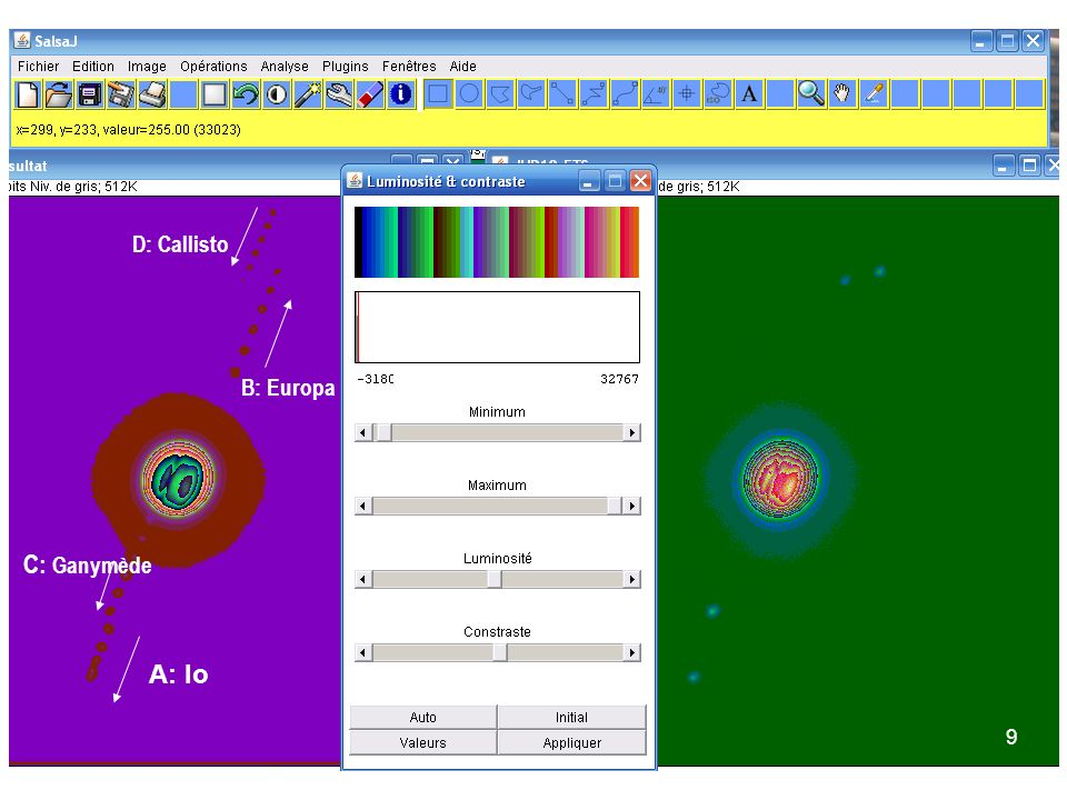 D: Callisto B: Europa C: Ganymède A: Io 9