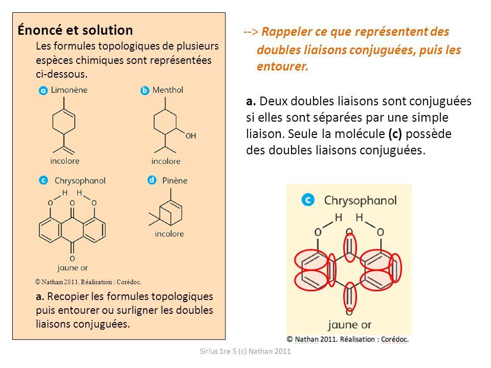 Énoncé et solution Les formules topologiques de plusieurs espèces chimiques sont représentées ci-dessous. a. Recopier les formules topologiques puis entourer ou surligner les doubles liaisons conjuguées.