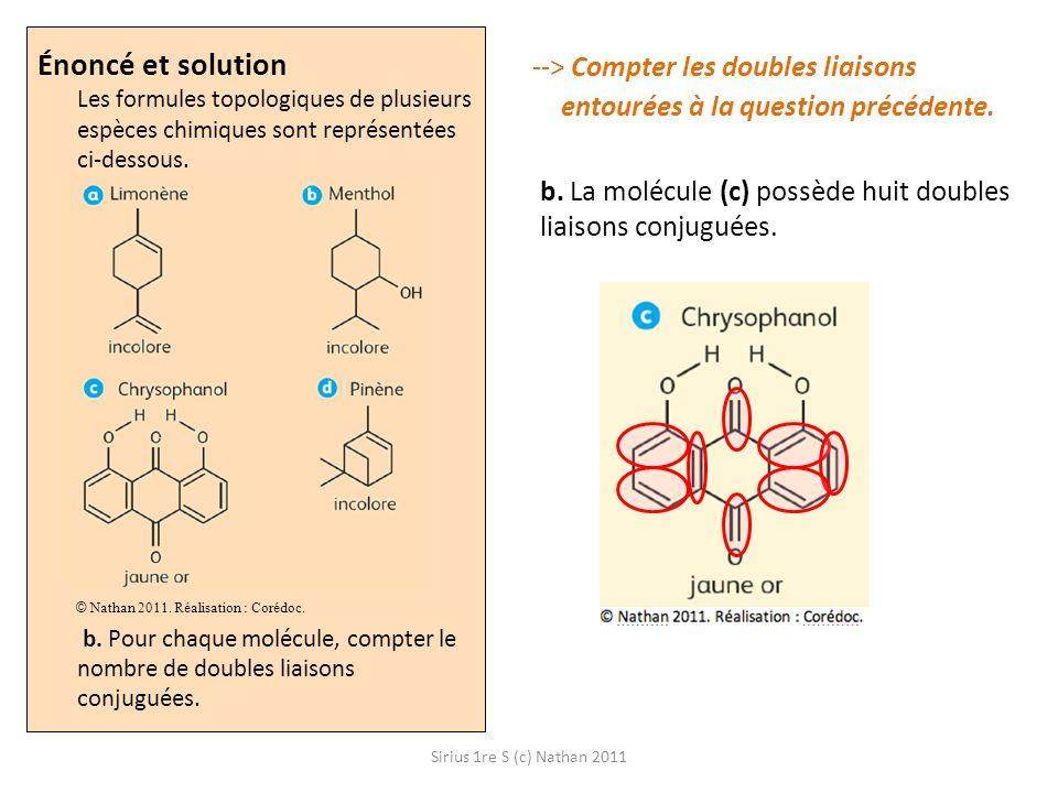 Énoncé et solution Les formules topologiques de plusieurs espèces chimiques sont représentées ci-dessous. b. Pour chaque molécule, compter le nombre de doubles liaisons conjuguées.