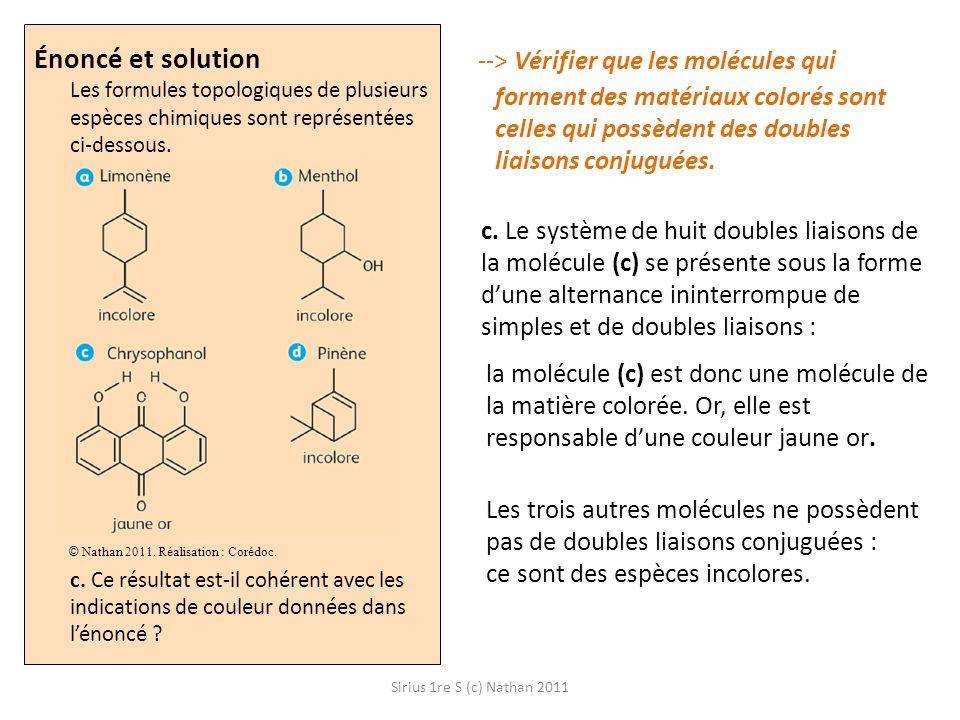 Énoncé et solution Les formules topologiques de plusieurs espèces chimiques sont représentées ci-dessous. c. Ce résultat est-il cohérent avec les indications de couleur données dans l'énoncé