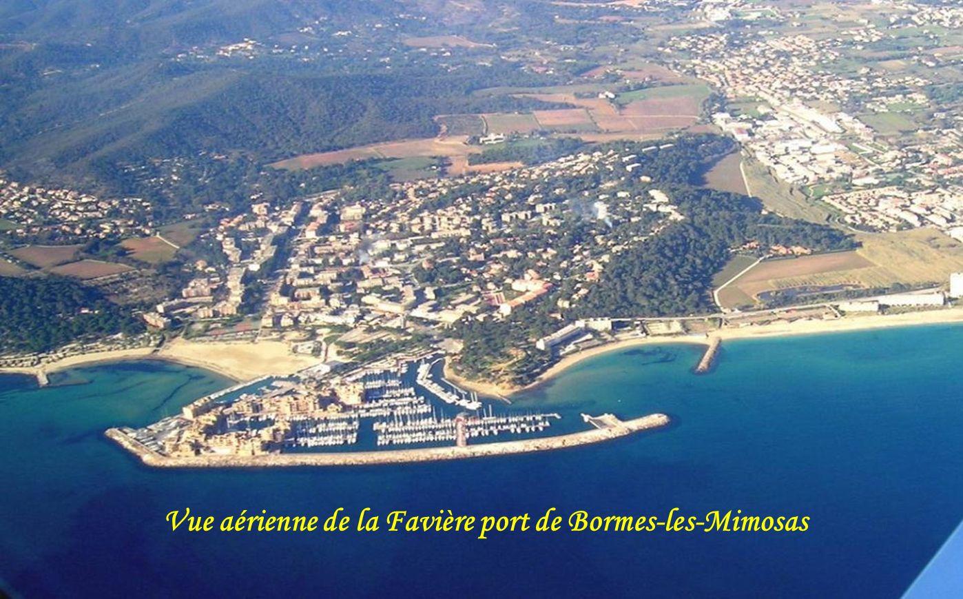 Vue aérienne de la Favière port de Bormes-les-Mimosas