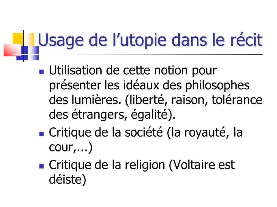 Usage de l'utopie dans le récit