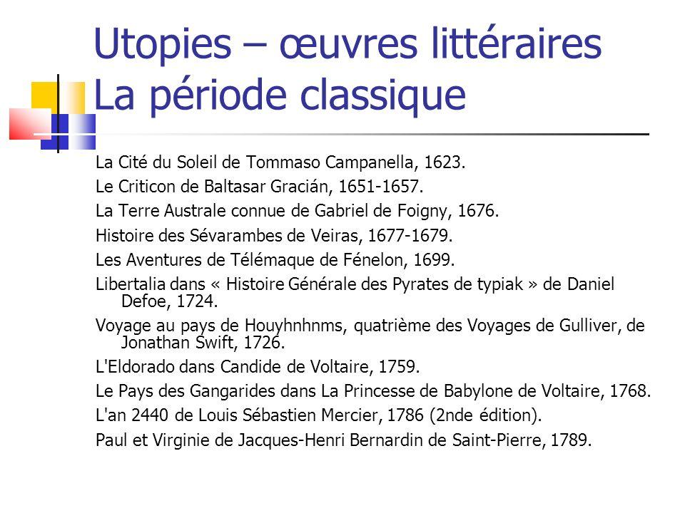 Utopies – œuvres littéraires La période classique