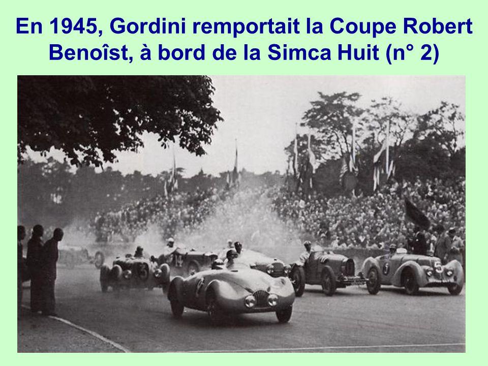 En 1945, Gordini remportait la Coupe Robert Benoîst, à bord de la Simca Huit (n° 2)