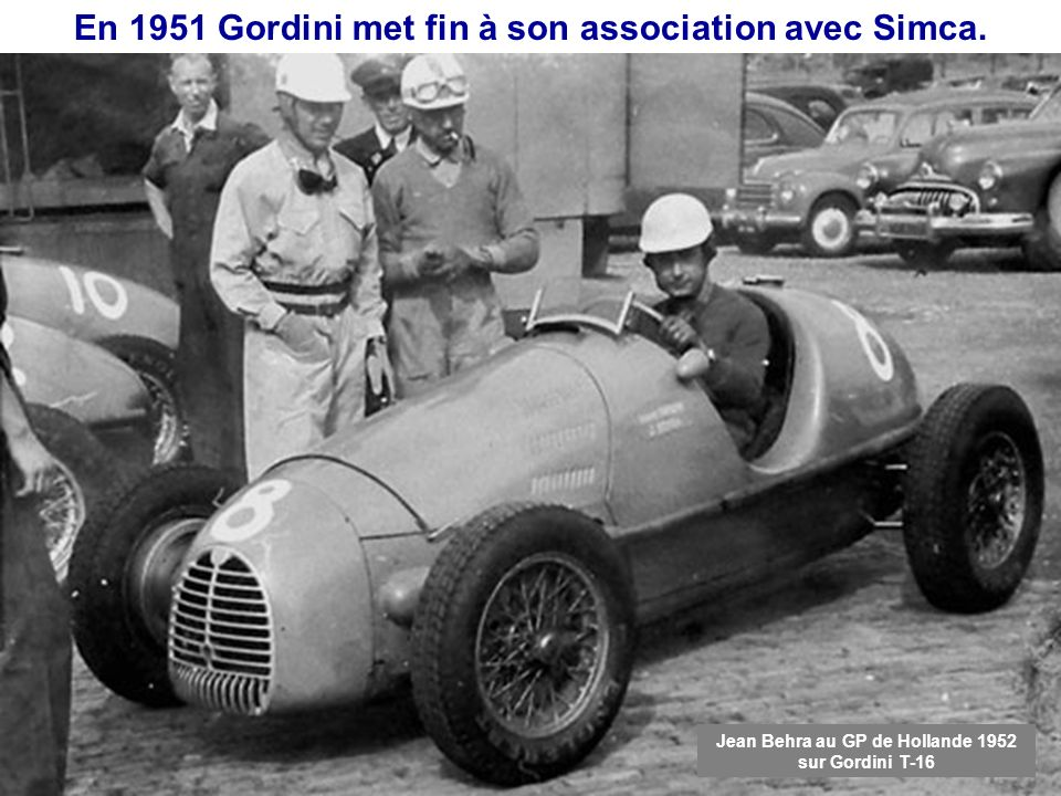 En 1951 Gordini met fin à son association avec Simca.