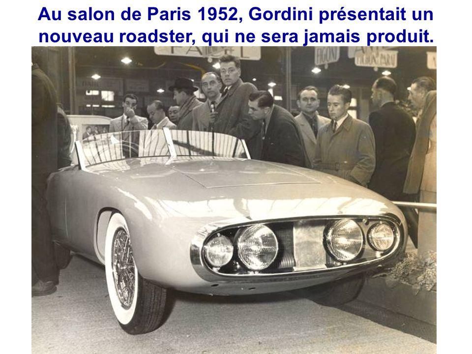 Au salon de Paris 1952, Gordini présentait un nouveau roadster, qui ne sera jamais produit.