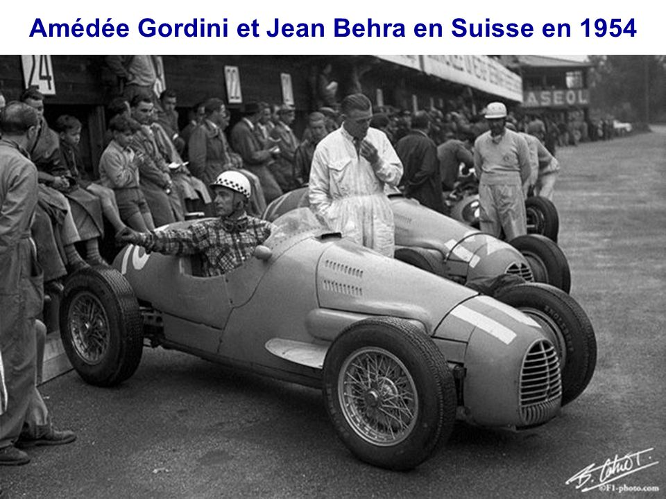 Amédée Gordini et Jean Behra en Suisse en 1954