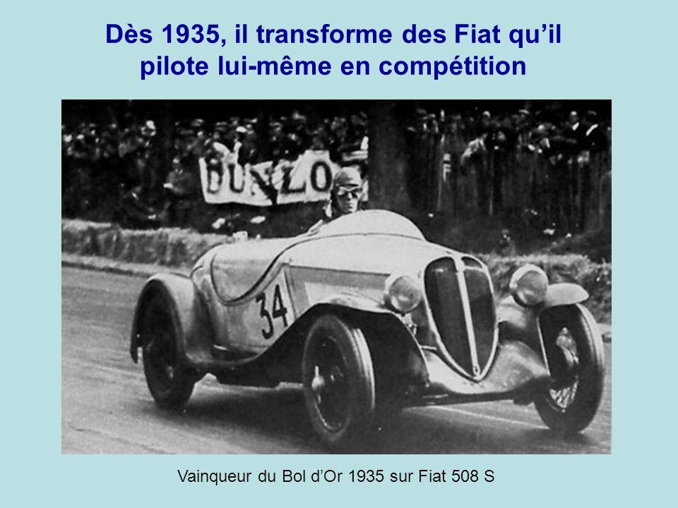 Dès 1935, il transforme des Fiat qu'il pilote lui-même en compétition