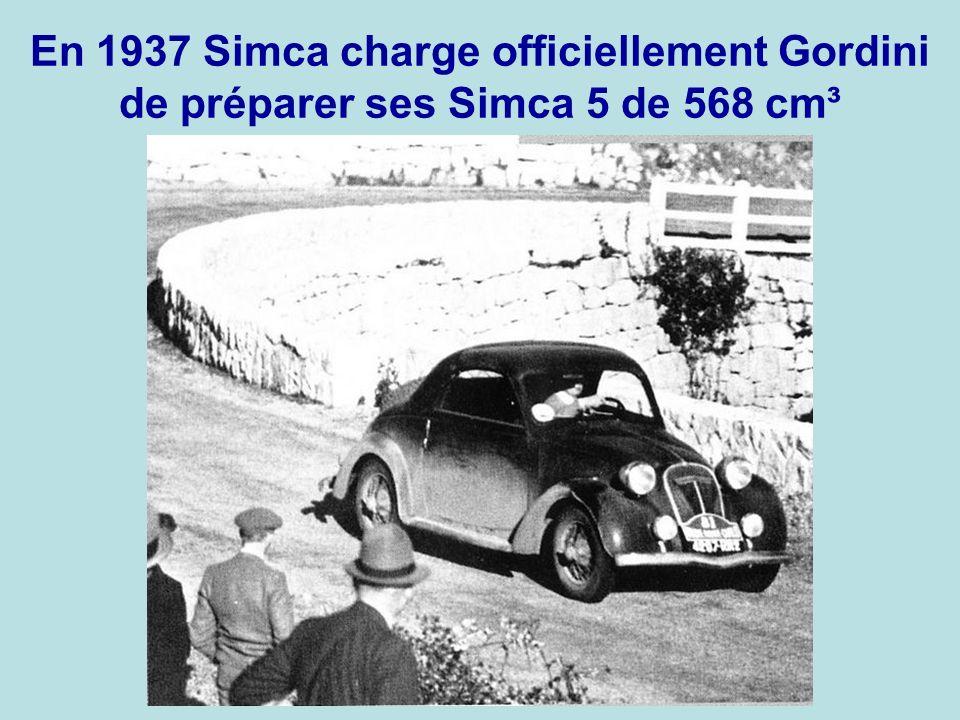 En 1937 Simca charge officiellement Gordini de préparer ses Simca 5 de 568 cm³