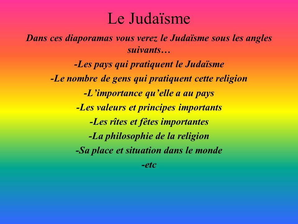 Le Judaïsme Dans ces diaporamas vous verez le Judaïsme sous les angles suivants… -Les pays qui pratiquent le Judaïsme.