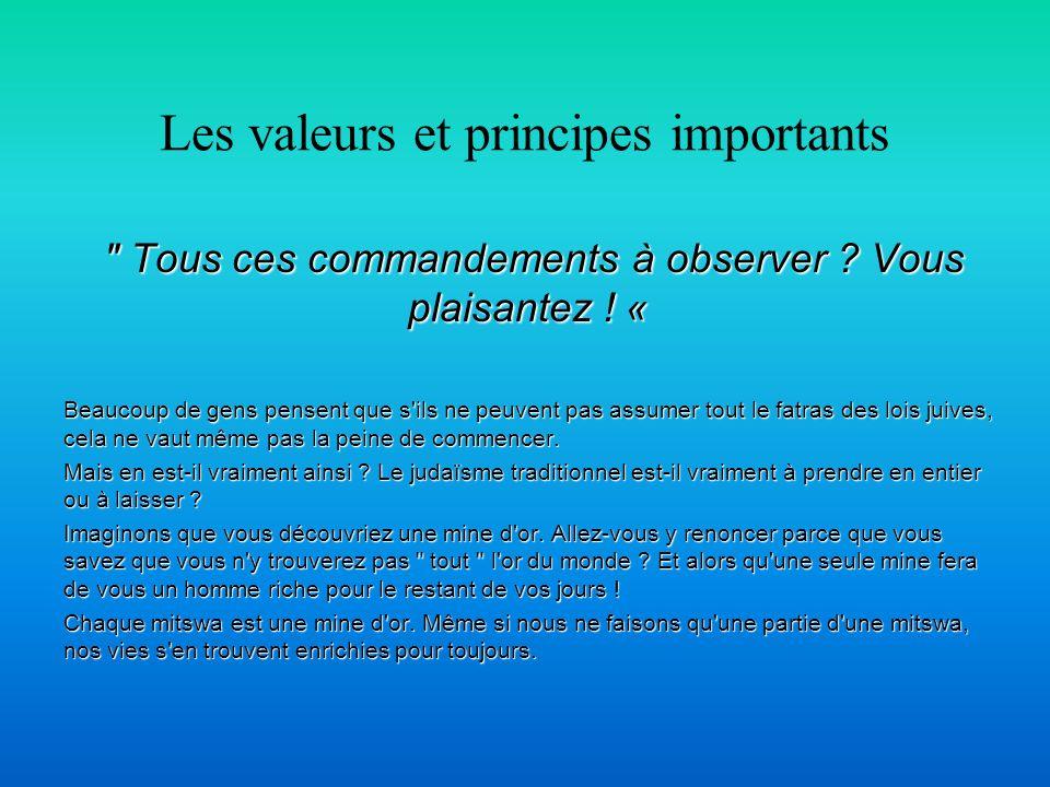 Les valeurs et principes importants