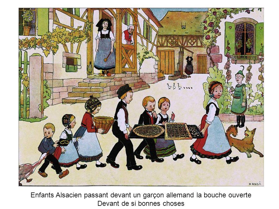 Enfants Alsacien passant devant un garçon allemand la bouche ouverte