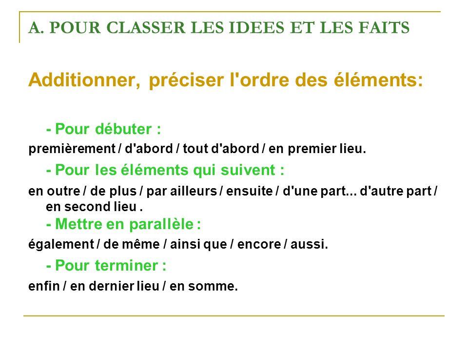 A. POUR CLASSER LES IDEES ET LES FAITS