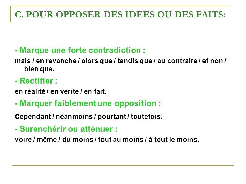 C. POUR OPPOSER DES IDEES OU DES FAITS: