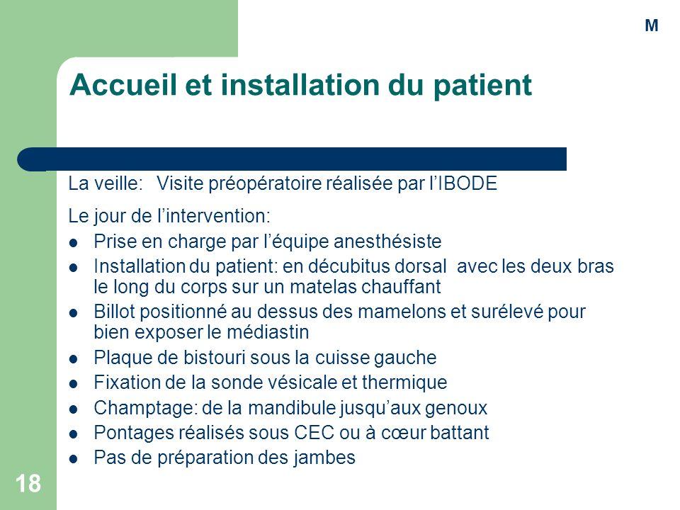 Accueil et installation du patient