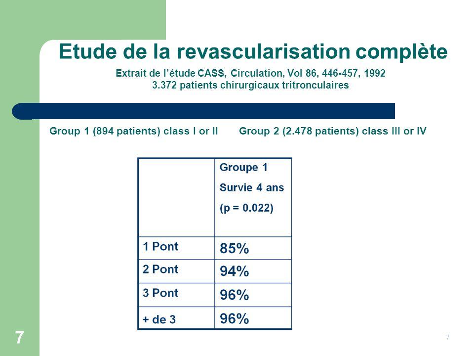 Etude de la revascularisation complète Extrait de l'étude CASS, Circulation, Vol 86, 446-457, 1992 3.372 patients chirurgicaux tritronculaires