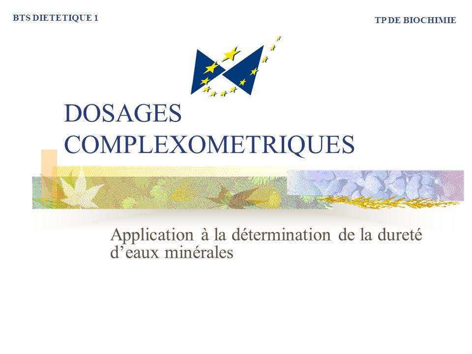 DOSAGES COMPLEXOMETRIQUES