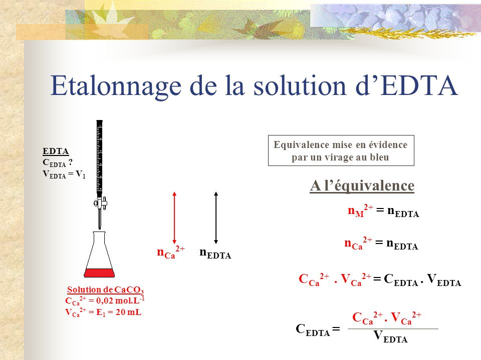 Etalonnage de la solution d'EDTA
