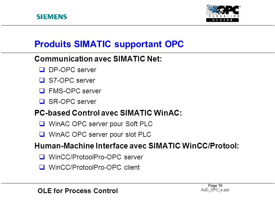 Produits SIMATIC supportant OPC