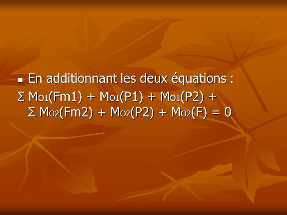 En additionnant les deux équations :