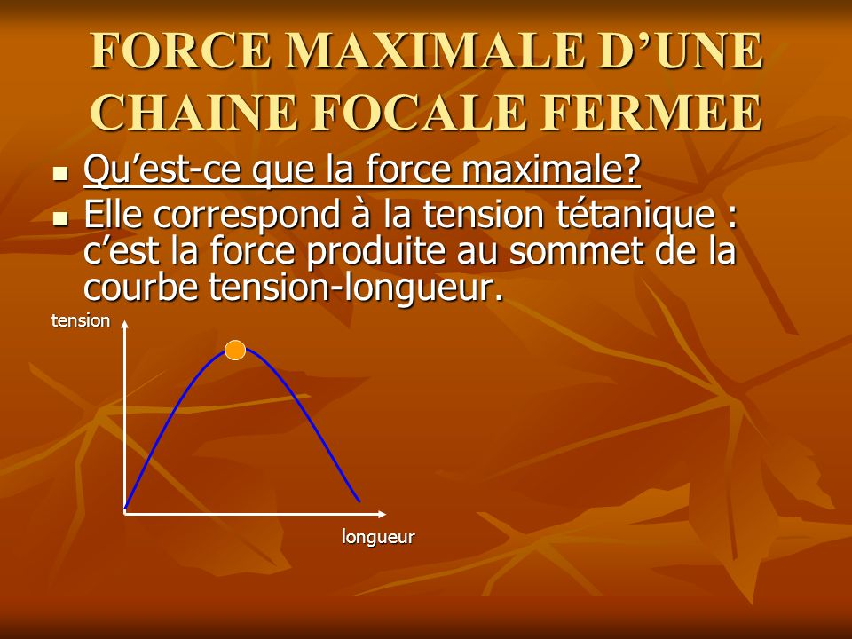FORCE MAXIMALE D'UNE CHAINE FOCALE FERMEE