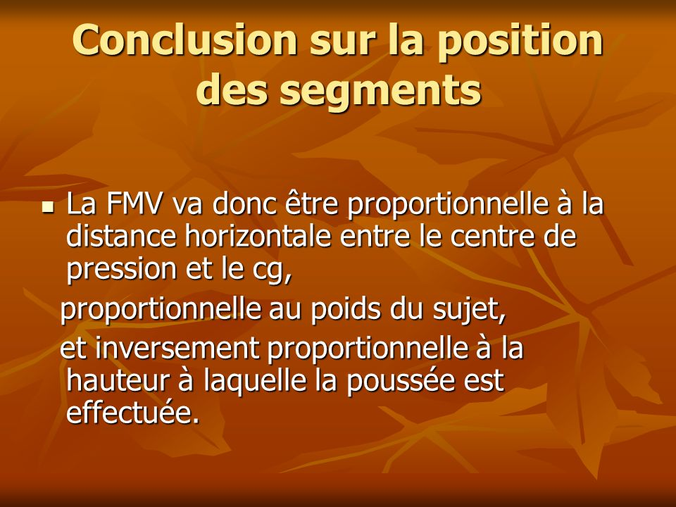 Conclusion sur la position des segments