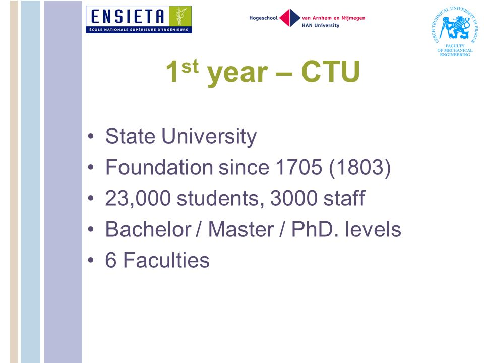 1st year – CTU State University Foundation since 1705 (1803)