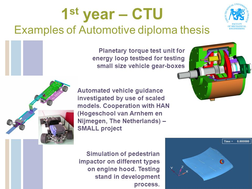 1st year – CTU Examples of Automotive diploma thesis