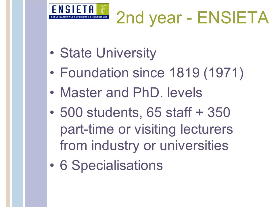 2nd year - ENSIETA State University Foundation since 1819 (1971)