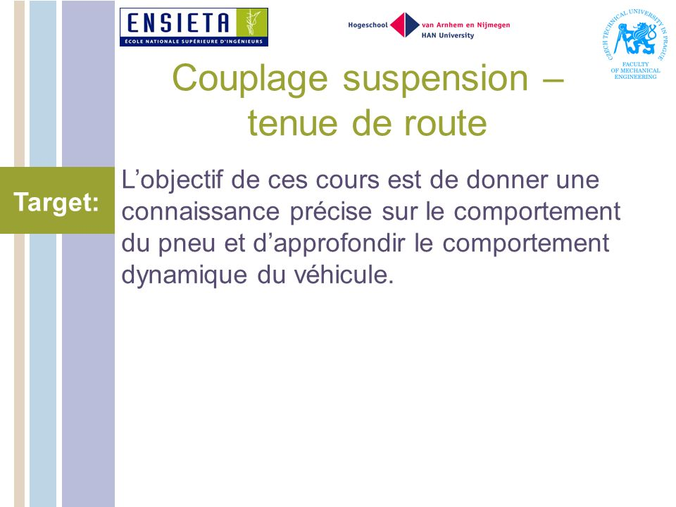 Couplage suspension – tenue de route