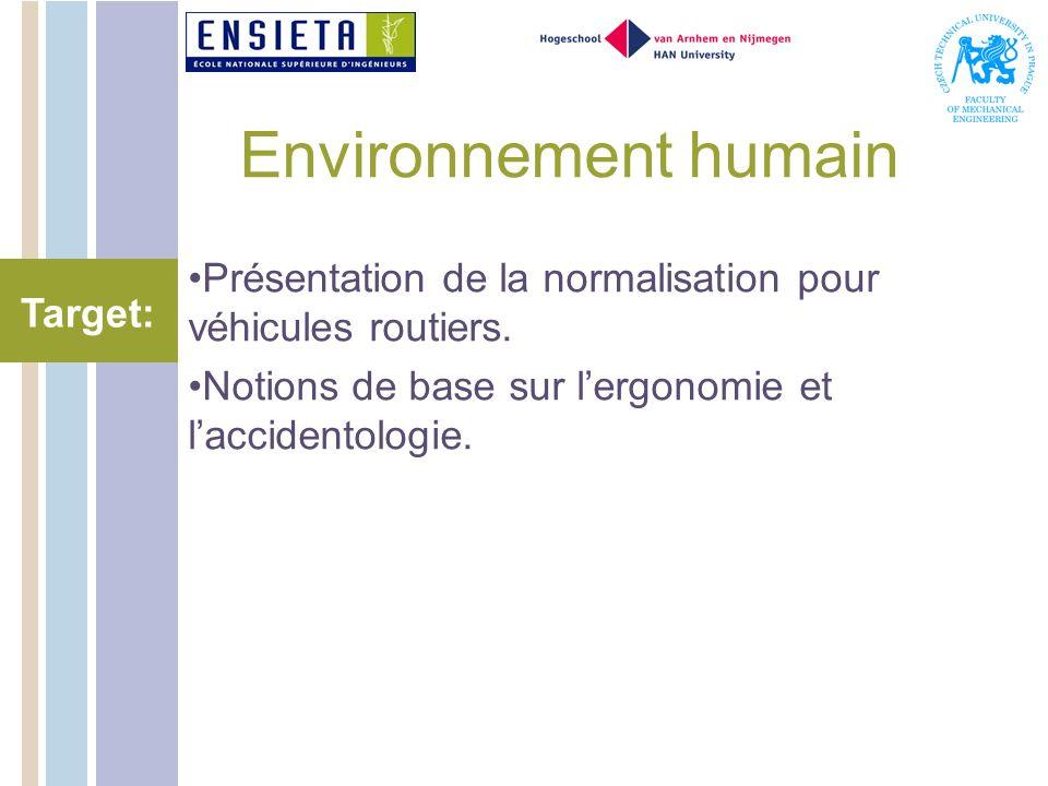 Environnement humain Présentation de la normalisation pour véhicules routiers. Notions de base sur l'ergonomie et l'accidentologie.