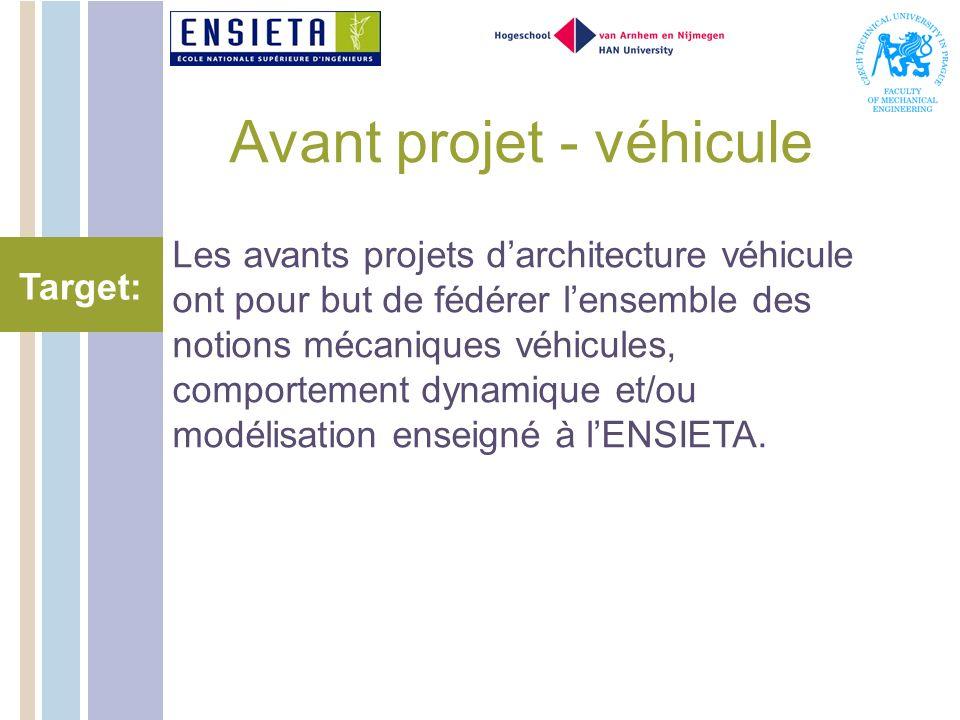 Avant projet - véhicule