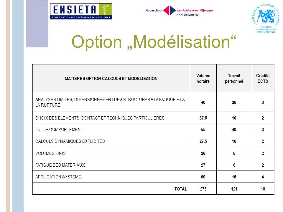 "Option ""Modélisation"