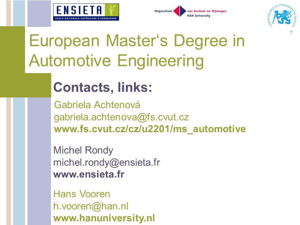 European Master's Degree in Automotive Engineering