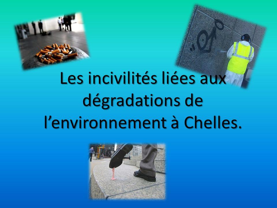 Les incivilités liées aux dégradations de l'environnement à Chelles.