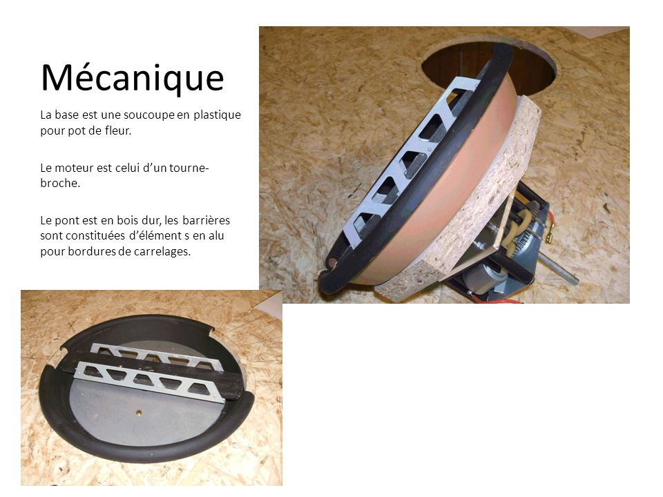 Mécanique La base est une soucoupe en plastique pour pot de fleur.
