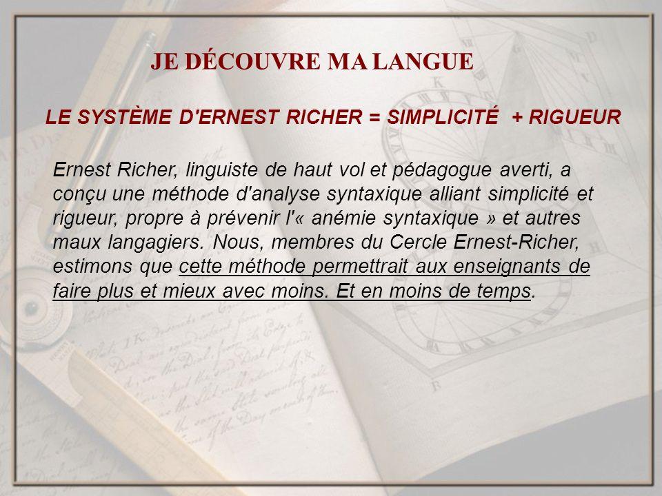 LE SYSTÈME D ERNEST RICHER = SIMPLICITÉ + RIGUEUR