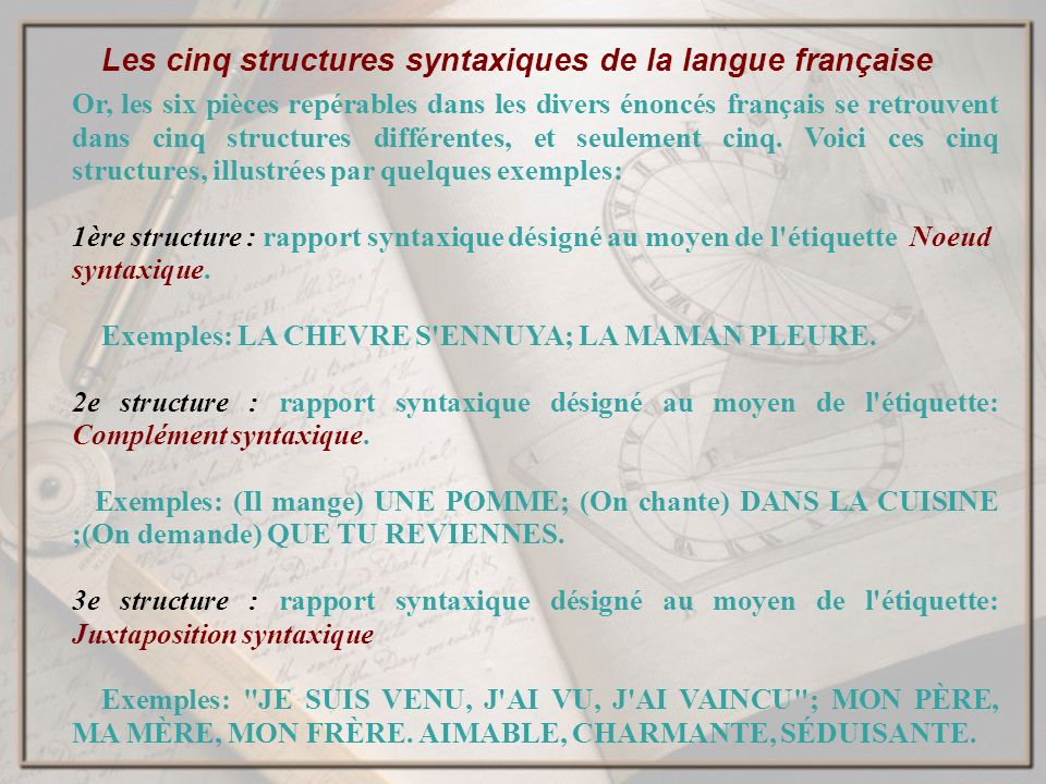 Les cinq structures syntaxiques de la langue française