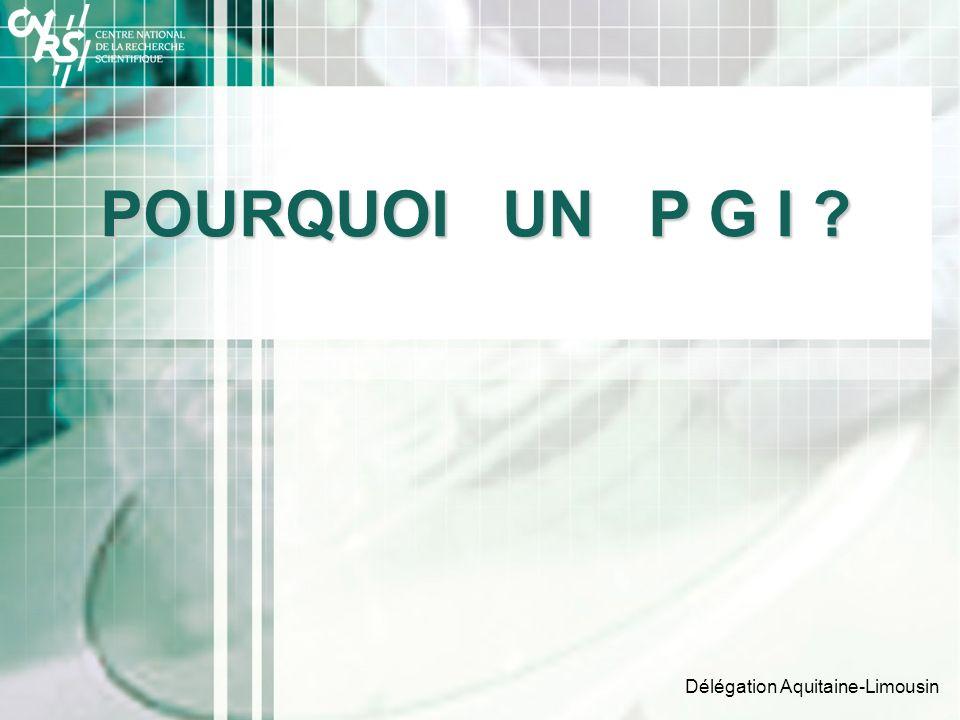 POURQUOI UN P G I Délégation Aquitaine-Limousin