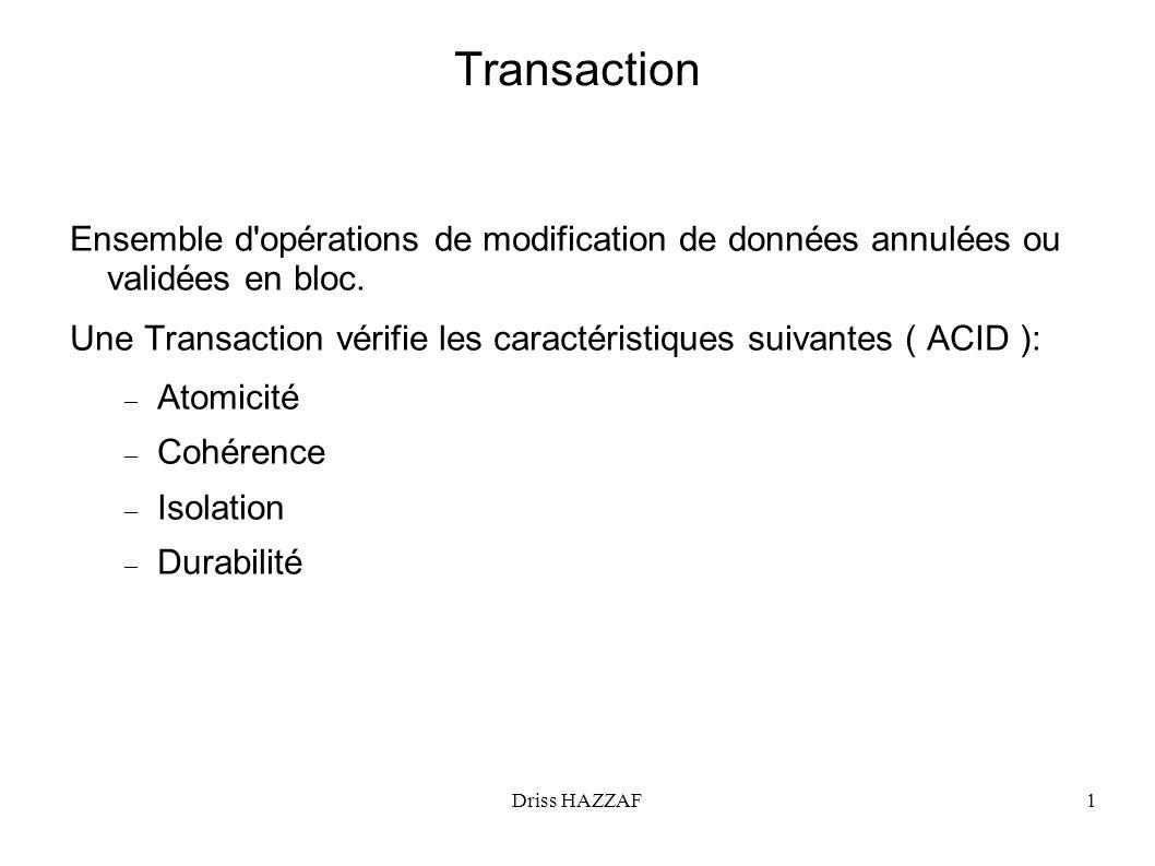 Transaction Ensemble d opérations de modification de données annulées ou validées en bloc.