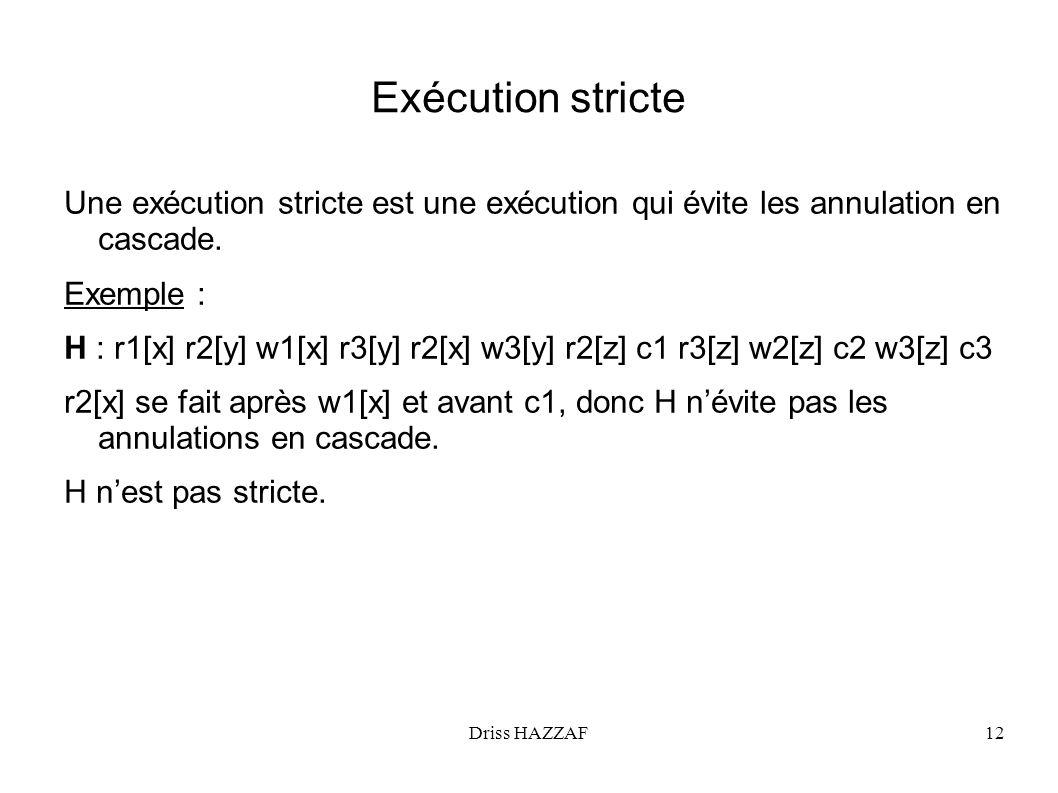 Exécution stricte Une exécution stricte est une exécution qui évite les annulation en cascade. Exemple :
