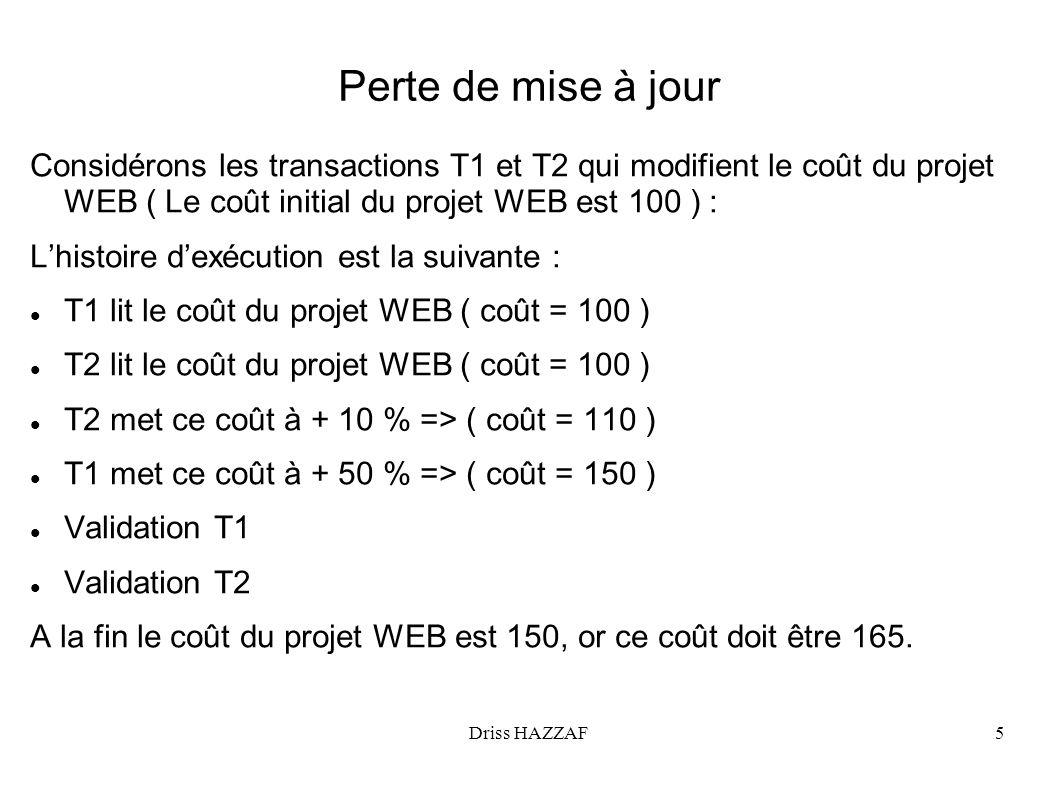 Perte de mise à jour Considérons les transactions T1 et T2 qui modifient le coût du projet WEB ( Le coût initial du projet WEB est 100 ) :