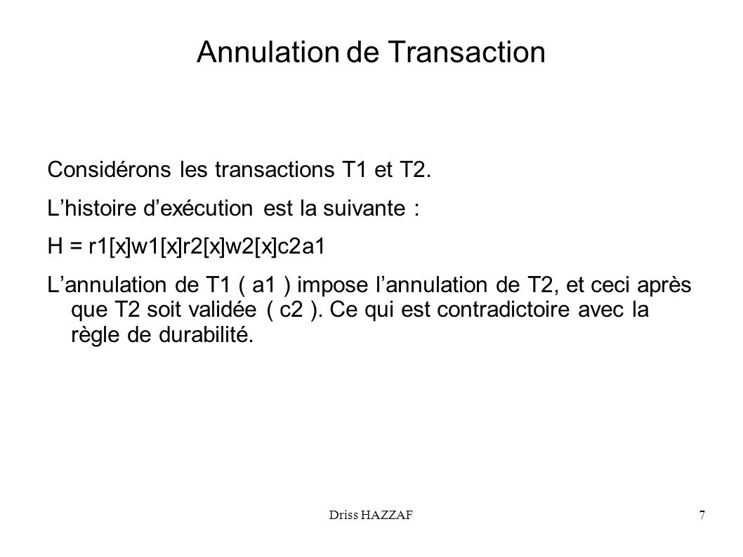 Annulation de Transaction