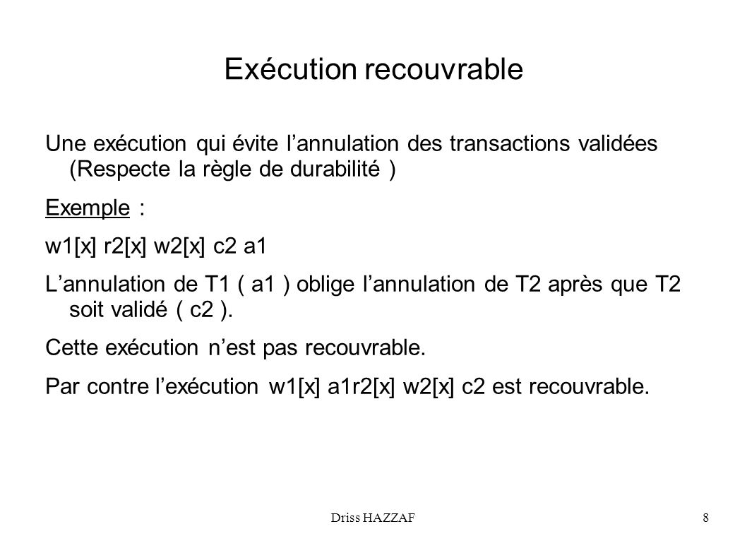 Exécution recouvrable