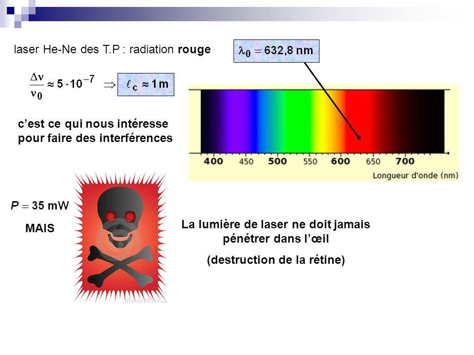 laser He-Ne des T.P : radiation rouge